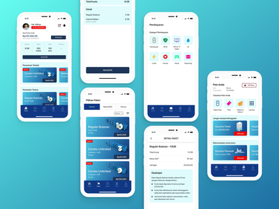 Internet Provider App Design promotion payment gradient management blue data package provider internet challenge mobile ios interface figma android ux dailyui inspiration ui design