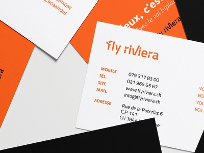 Fly Riviera — Paragliding flights business cards logo new logo brand branding fly paragliding flights swiss business card