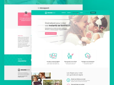 Grainebook UI/UX Homepage logo testimonials newsletter kids photo book digital homepage