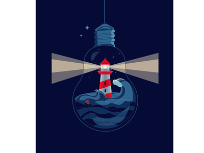 Find your way digital painting drawing webdesign website journal illustration poster vector vector illustration lamp night boat shine way sea lighthouse