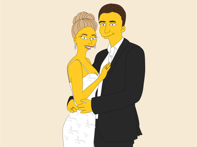 Simpsons Wedding vector illustration simpsons wedding graphics character characterdesign flat portrait illustration