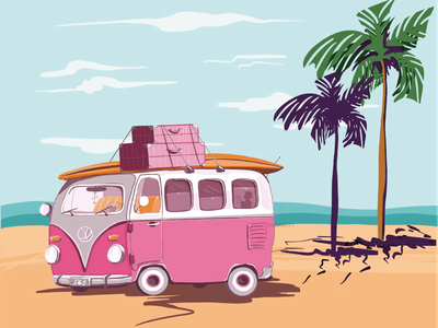 Hippie Van surfing beach sea volkswagen hippie digital painting flat illustration vector