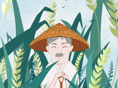Granddad illustrator digital painting character china flat illustration characterdesign vector
