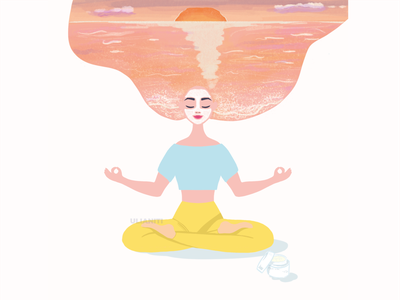 Meditation promotion commercial advertising cosmetics dreams girl illustration flat vector meditation