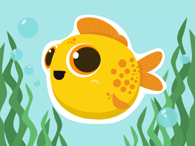 Baby Flounder flat digital painting baby fish illustration fish toys puzzle drawing characters characterdesign illustraion vector