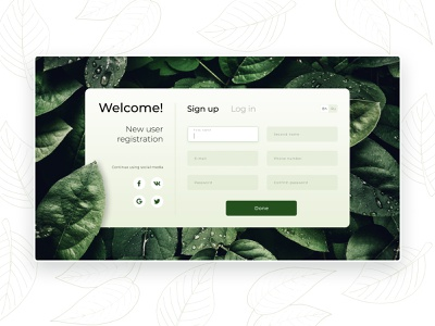 New user registration screen registration new user leaves welcome sign in login website ui web app ux design