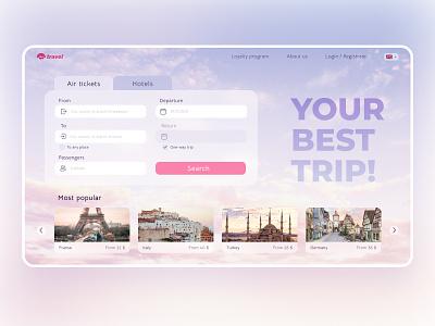 Travel WebSite sky login main screen passenger departure trip hotel ticket plane welcome website web ux ui design