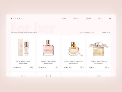 Catalog Shazeli Parfum product catalog toilet water perfume parfum store shop catalog website web ux ui design
