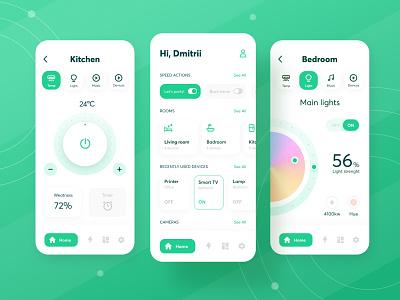 Smart Home App Design devises smart technology modern clear minimal green home smart home mobile interface app ux ui design