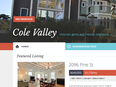 cole valley san francisco real estate app app design interface flat ui