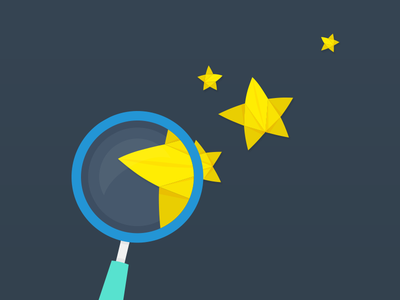 Look at the Stars illustration origami stars magnifying glass vector