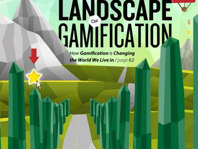 mock magazine cover illustration landscape vector 3d