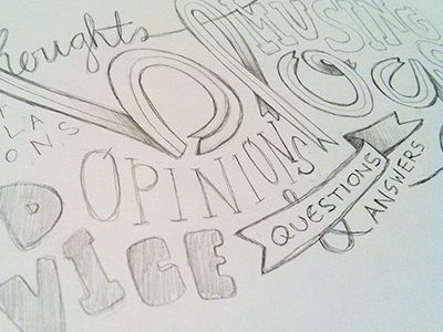 blog header sketch drawing typography illustration hand-drawn hand-lettering ribbon process pencil paper font calligraphy type