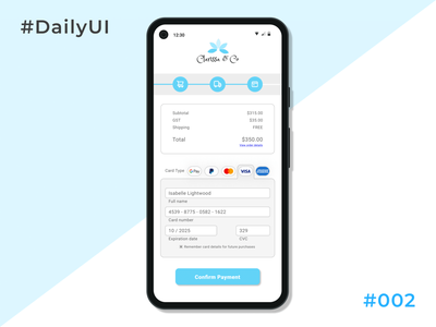 Daily UI 002 Credit Card Checkout android app design android design android googlepixel app design daily ui paymentscreen figma creditcard creditcardcheckout checkout appdesign 002 day002 designoftheday daily 100 challenge dailyuichallenge dailyui