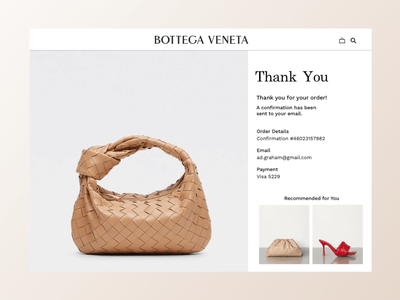 Confirmation Page shopping online cart checkout graphicdesign uxdesign design webpage website ecommerce bags fashion bottegaveneta dailyui confirmation