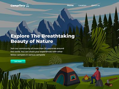 Campfiery - Camping Community campsite campfire web design ui