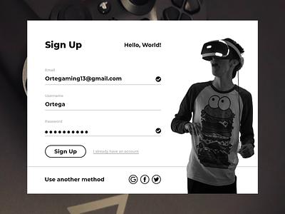 Gaming - Sign Up dailyuichallenge sign web design web ui design sign up signup gaming website gaming