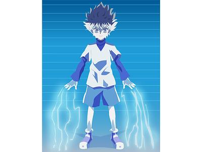 Killua Zoldyck vector designs character design fan art fanart animation animeart anime illustrator illustration design
