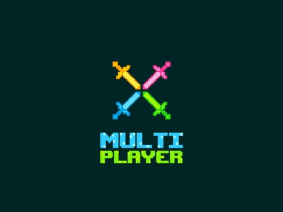 Multiplayer Logo and Sticker concept tshirtdesign tshirtart stickerart illustration design free graphic design retro swords pixel pixelart gamingart gamer gaming multiplayer stickerdesign sticker logo logodesign mrbranding