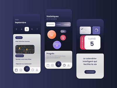calendar and to-do app in mode dark site uidesign logo design branding uxdesign uiux ui design app apps
