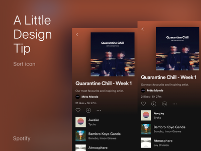 A Little Design Tip for Spotify pulldown filter songs icon sort spotify facelift design app mobile tip