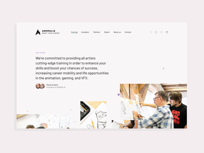 Anomalia Website czech cartoon learning uxui education school courses 3d website flat web illustration typography ux ui design