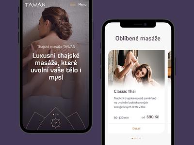 TAWAN Mobile header ui uxui ux iphone12 fullscreen mockup mobile spa beauty oriental massage thai