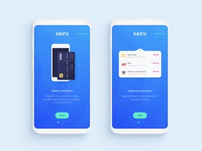 Saifu Onboarding aplication clean illustration design logo ux credit card mockup android money banking app mobile ui onboarding
