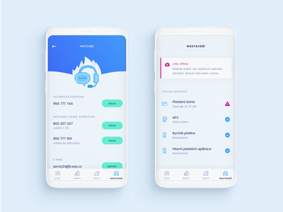 Saifu Settings clean icon illustration mobile blue and white light call hotline chat headphones water blue ux ui app settings