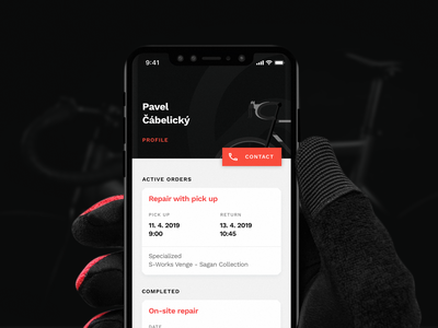 Kolofix Mobile App bike bicycle app black dark branding ui design mobile app
