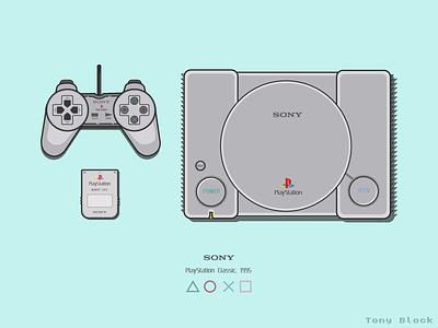PlayStation One retro design retro playstation 1 playstation flat illustration vector illustration vectorart illustrator illustration graphicdesign digital illustration digitalart adobe illustrator