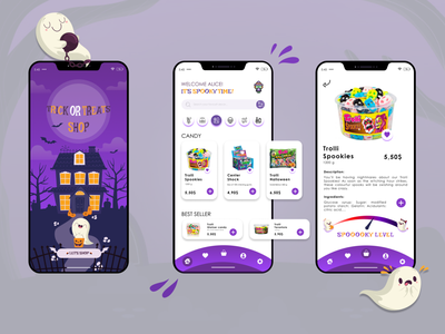 Trick Or Treats - Halloween UI Design app ux ui vector minimal illustration design