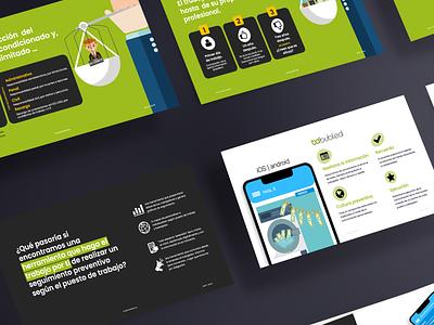 Pitch deck for Bubled application laboral risks illustration marketing presentation design presentation business app