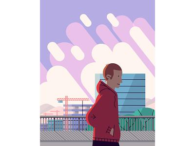 Stroll walk guy landscape 2d city vector illustraion