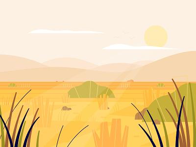 Grassland savannah orange yellow 2d vector nature illustration nature enviroment background
