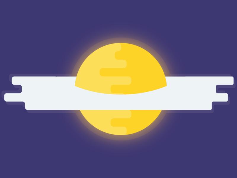 Sunny-side Up egg minimal space flat design drawing illustrator