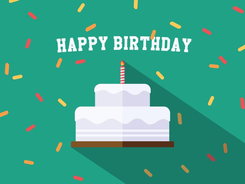 Happy Birthday! flat shadow illustration cake birthday minimal flat design drawing illustrator