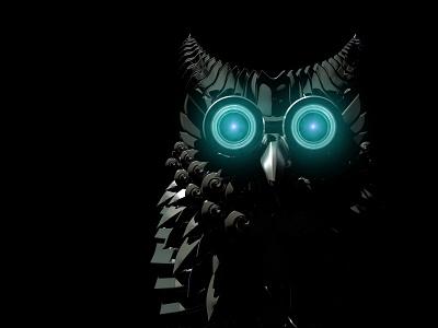 Rise of Owltron ツ bird 3d rendered myth mood lighting dark shiny gloss chrome metal bot lens camera electric animatronics mechatronics mechanic mechanics robotic robot owl glow nebula fog eyes