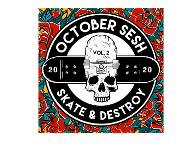 SKATE & DESTROY sticker square punks rock dark illustration custom event flovers rose procreate photoshop illustrator sticker