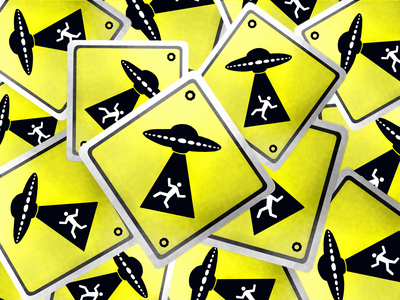 ALIENS ARE COMING road sign sticker bright warning danger responsive custom design aliens retro attention dark black photoshop art illustrator coreldraw procreate illustration yellow road sign