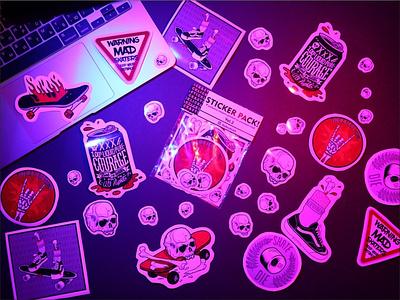 SKATE&DESTROY stickerpack logo custom black design sticker animation procreate illustration stickers