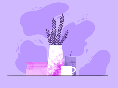 still life in pink and purple design art mug vase books flowers illustrator procreate experiment illustration purple