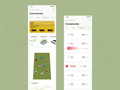 Sports club App Dashboard sports club app app dashboard ux design ui