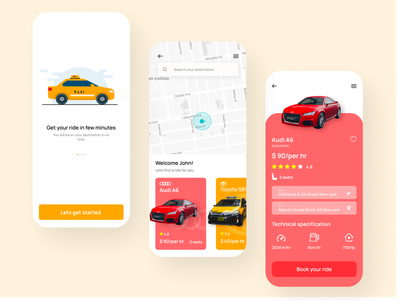 Cab booking app cabbooking cab illustration designer design ux ui mobiledesign mobileapp app