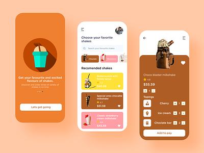 online milkshake ordering app design milkshakes logo illustration mobiledesign mobileapp designer design ux app ui
