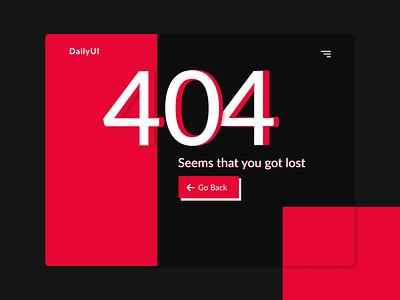 Daily UI 008 – 404 Page dailyui008 website ux 404page 404 page 404 error red ui minimal error page 404 008 dailyuichallenge dailyui