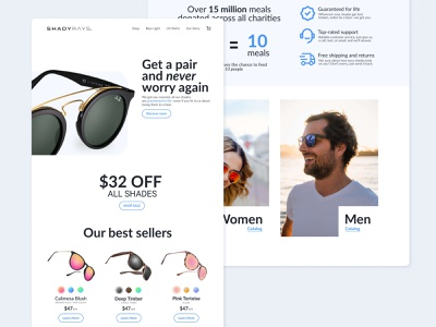 eCommerce Landing Page — Shady Rays Sunglasses Redesign product web website design ux study d2c desktop landing page ui ux