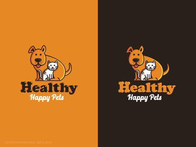 Healthy Happy Pets happy healthy cute cat pets pet dog icon branding logo design vector logo graphic design illustrator