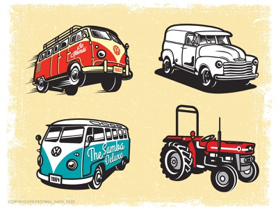 Vintage Cars- 1 old retro volkswagen tractor combi kombi motor car vintage illustration design vector graphic design illustrator