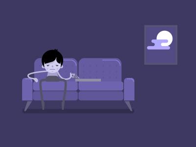 On the Sofa purple sofa flat design illustration character design